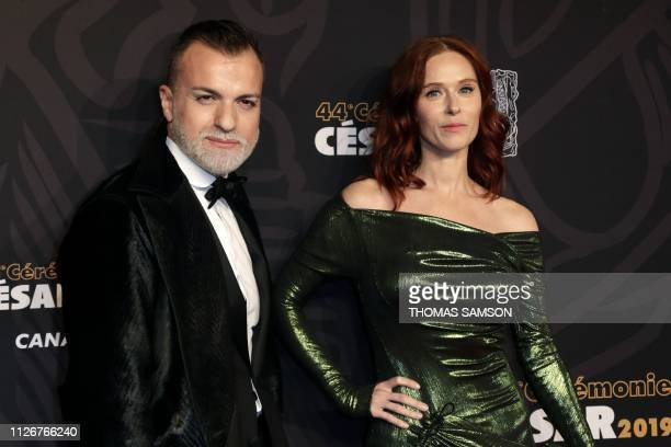 French actress Audrey Fleurot and French fashion designer Julien Fournie poses upon arrival at the 44th edition of the Cesar Film Awards ceremony at...