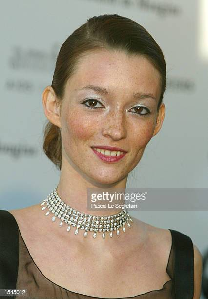 French actress Audrey Marney arrives at the Moulin de Mougins restaurant to attend an annual AIDS benefit during the 55th annual Cannes Film Festival...