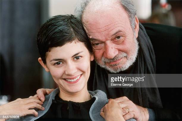 French actress Audrey Tautou and French director Claude Berri on the set of his film 'Ensemble c'est tout' based on Anna Gavalda's novel by the same...