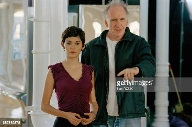 French actress Audrey Tautou and Israelianborn director Amos Kollek on the set of Kollek's film Happy End