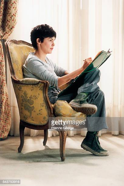 French actress Audrey Tautou on the set of the film 'Ensemble c'est tout' directed by Claude Berri and based on Anna Gavalda's novel by the same name