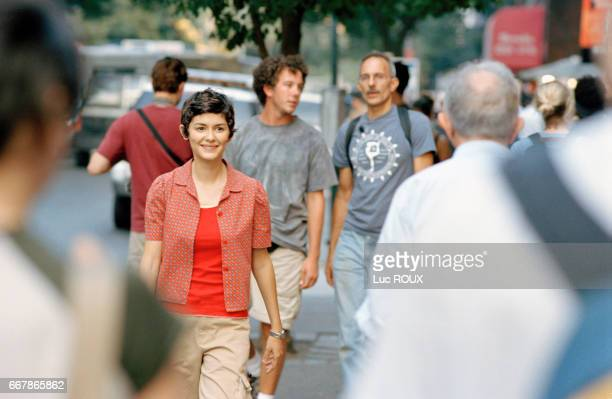 French actress Audrey Tautou on the set of the film Happy End directed by Israelianborn director Amos Kollek