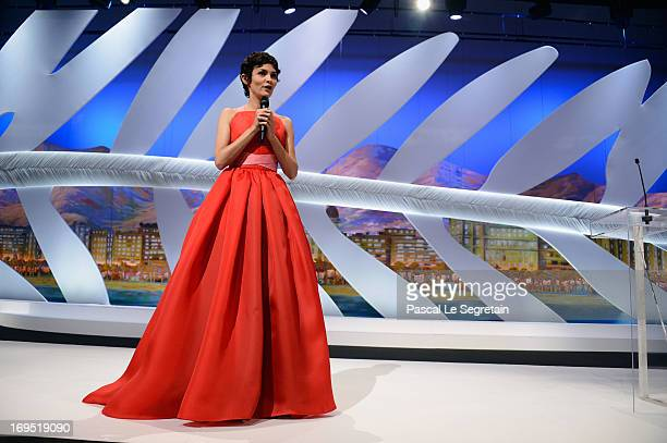 French actress Audrey Tautou opens the Closing Ceremony during the 66th Annual Cannes Film Festival at the Palais des Festivals on May 26, 2013 in...