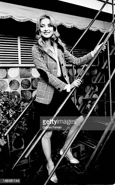 French actress Barbara Bouchet during a tourist tour in Madrid Madrid Spain