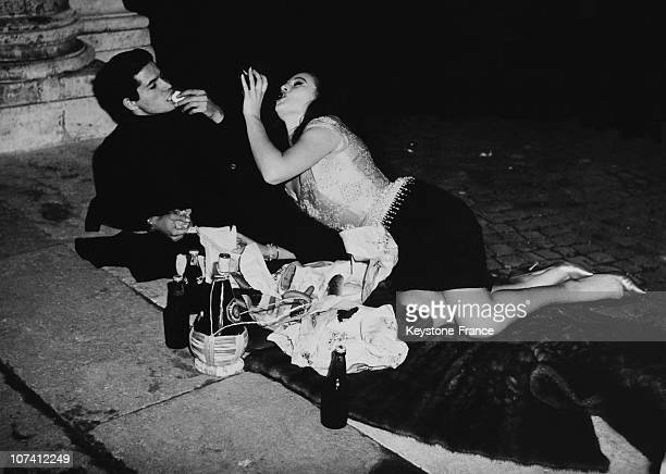 French Actress Beatrice Altariba And Italian Dancer Franco Infanti In Rome On January 3Rd 1962