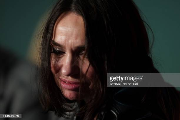 """French actress Beatrice Dalle attends a press conference for the film """"Lux Aeterna"""" at the 72nd edition of the Cannes Film Festival in Cannes,..."""
