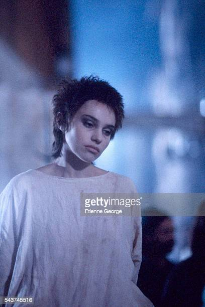 French actress Beatrice Dalle on the set of the film 'La Visione del Sabba' by Italian director Marco Bellocchio