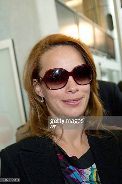 French actress Berenice Bejo of the cast of the film The Artist arrives after landing at Roissy Charles de Gaulle airport on February 28 2012...