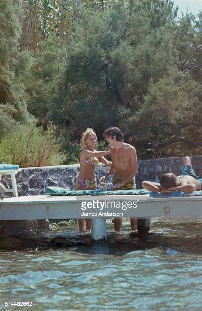 French actress Brigitte Bardot an Luigi Rizzi at La Madrague in Saint Tropez 05th August 1968