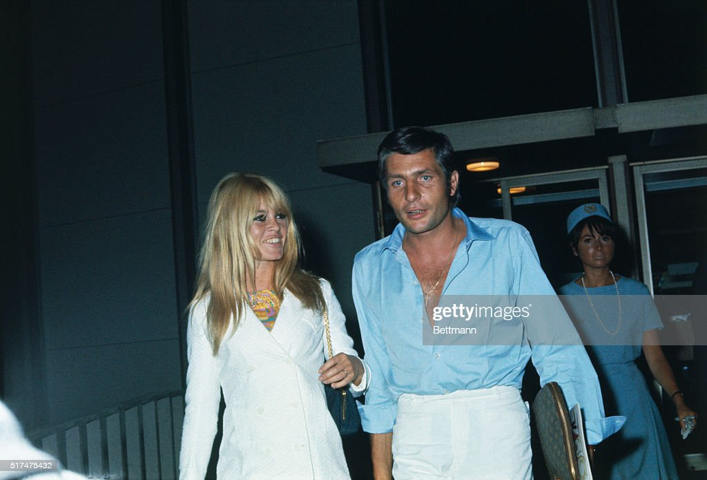 French actress Brigitte Bardot and her new husband, German industrialist Gunther Sachs, leave Los Angeles International Airport on a flight bound for Papeete, Tahiti, July 16th, for two weeks.