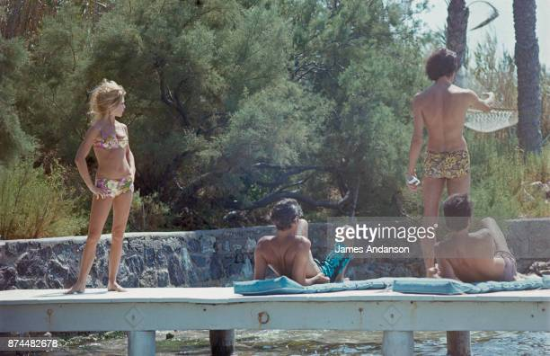 French actress Brigitte Bardot and Luigi Rizzi at La Madrague in Saint Tropez 05th August 1968