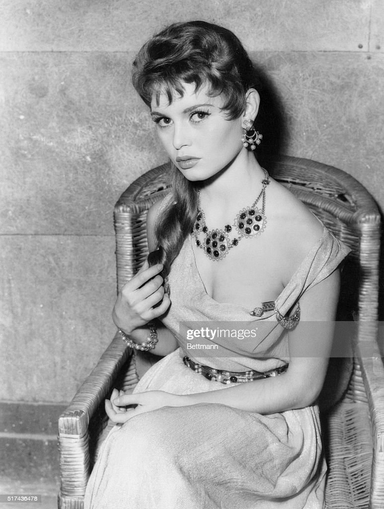French actress Brigitte Bardot during a costume test for her role as Poppea in the Titanus-Vides Production, Nero's Big Weekend, which stars her with Alberto Sordi, Vittorio DeSica and Gloria Swanson.