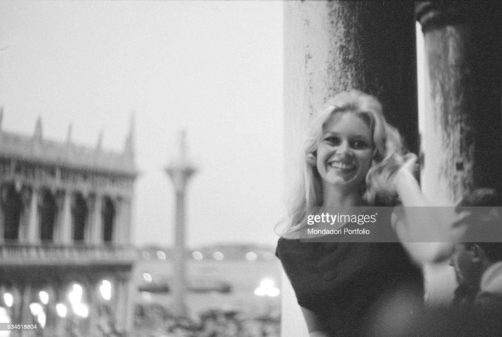 French actress Brigitte Bardot looking at Saint Mark's Square during the 19th Venice International Film Festival. Venice, August 1958