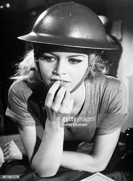 French actress Brigitte Bardot on the set of Babette s'en Vaten Guerre directed by ChristianJaque