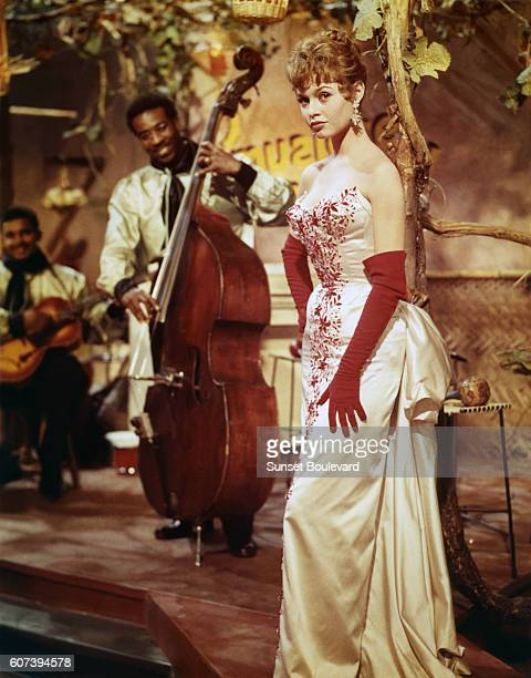 French actress Brigitte Bardot on the set of Doctor at Sea, directed by Ralph Thomas.