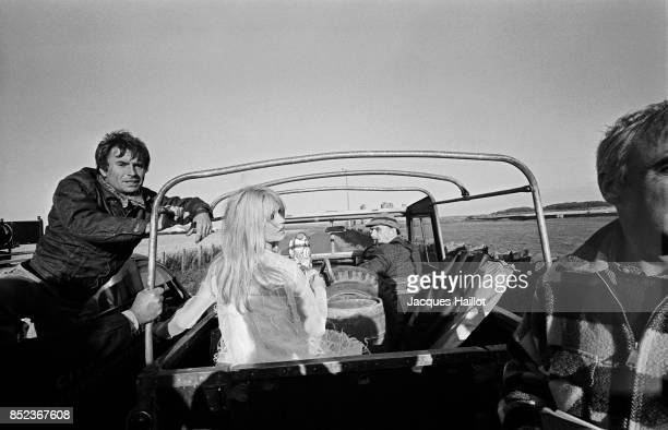 French actress Brigitte Bardot on the set of the movie A Coeur Joie directed by Serge Bourguignon