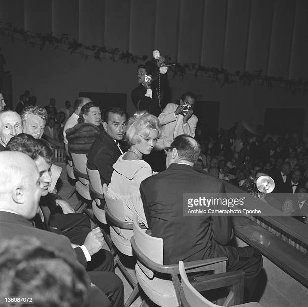 French actress Brigitte Bardot sitting in the front row at the Venice Movie Palace Lido Venice 1958