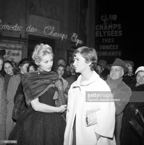 French actress Brigitte Bardot talking to French writer Francoise Sagan France 21st January 1958