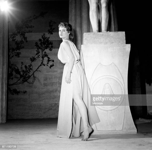 French actress Brigitte Bardot who plays Andraste in the film Helen of Troy pictured during filming in Rome Italy May 1954