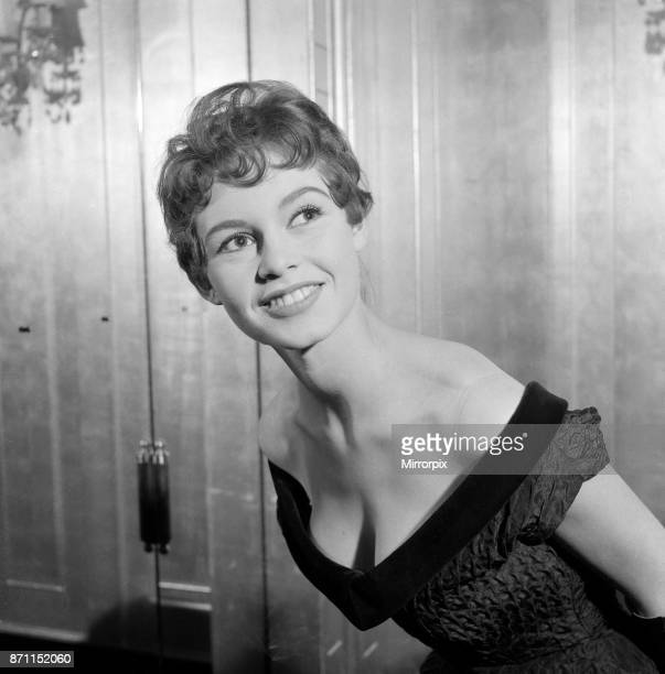 French actress Brigitte Bardot who stars in the new film 'Doctor At Sea' pictured at the Dorchester Hotel in Central London 1st February 1955
