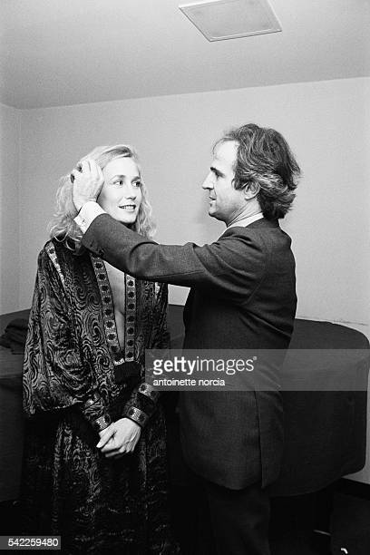French actress Brigitte Fossey and director screenwriter producer and actor Francois Truffaut attend the New York premiere of his film L'Homme qui...