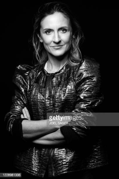 French actress Camille Chamoux poses for a photo session during the 3rd edition of the Cannes International Series Festival in Cannes, southern...