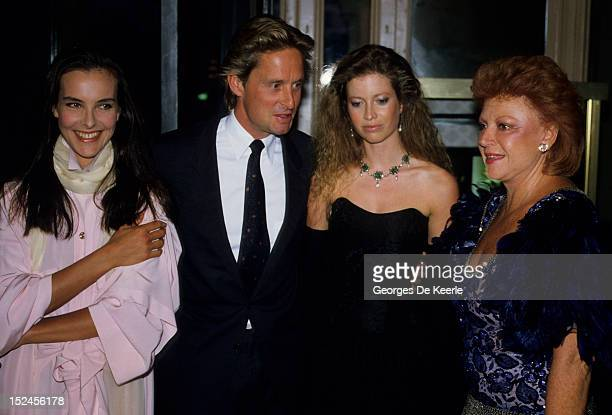 French actress Carole Bouquet Michael Douglas his wife Diandra Douglas and guest in Trouville France on August 10 1985