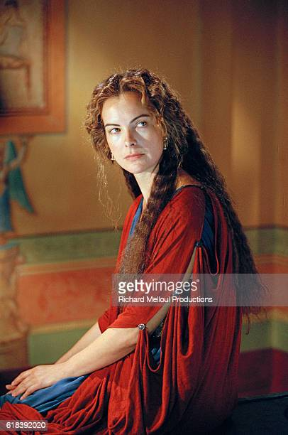French actress Carole Bouquet on the set a televised adaptation of Berenice by the director JeanDaniel Verhaeghe