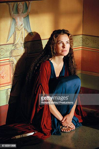 French actress Carole Bouquet on the set of 'Berenice' by the director JeanDaniel Verhaeghe