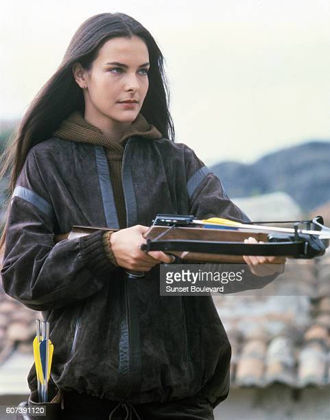 French actress Carole Bouquet on the set of For Your Eyes Only directed by John Glen