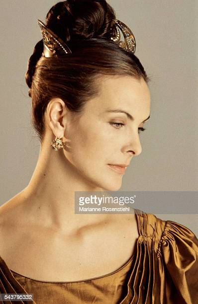 French actress Carole Bouquet wearing the dress from the 1997 French television film 'Le Rouge et le Noir'.