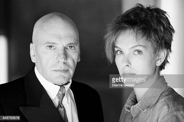 French actress Carole Bouquet with actor JeanLouis Trintignant on the set of the film 'Bunker Palace Hotel' directed by Yugoslavborn director and...