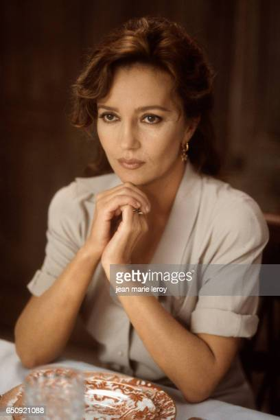 French actress Caroline Cellier on the set of Le Zebre by her husband French director screenwriter and actor Jean Poiret