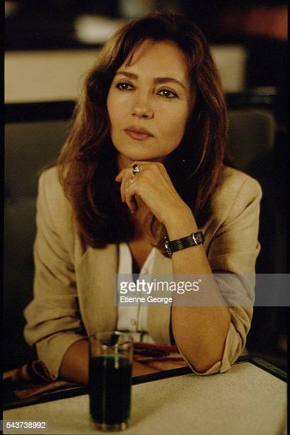 French actress Caroline Cellier on the set of the film Délit mineur directed by French director Francis Girod
