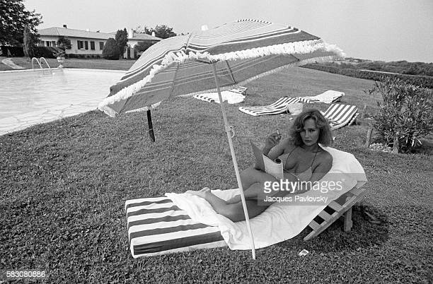 French actress Caroline Cellier takes a break from the theater and screen on vacation at her property in Bordagain near St Jean de Luz