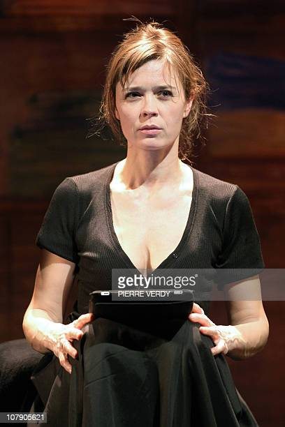 French actress Caroline Proust participates in a rehearsal of L'Amour la mort les fringues on January 6 2011 at Marigny Theatre in Paris AFP PHOTO...