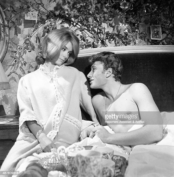 French actress Catherine Deneuve and French actor Johnny Hallyday acting in Tales of Paris France 1962