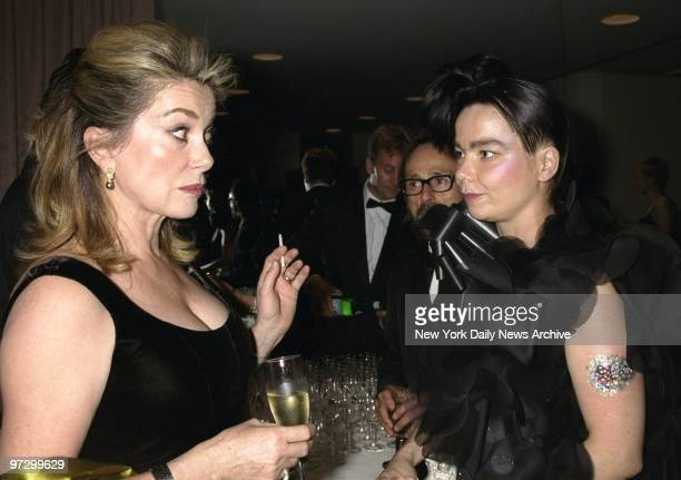 French actress Catherine Deneuve and Icelandic singersongwriter Bjork get together at showing of the movie 'Dancer in the Dark' on opening night of...