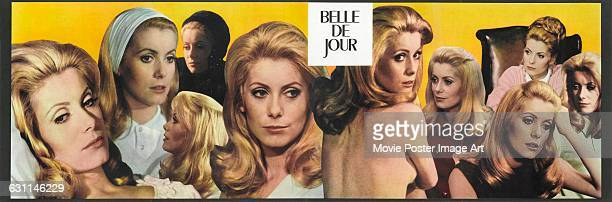 French actress Catherine Deneuve appears on a poster for the 1967 film 'Belle de Jour', directed by Luis Bunuel.