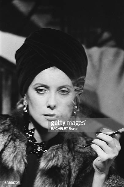 French actress Catherine Deneuve poses in fashions by Yves Saint Laurent at a photoshoot by German photographer Helmut Newton 16th November 1981 The...