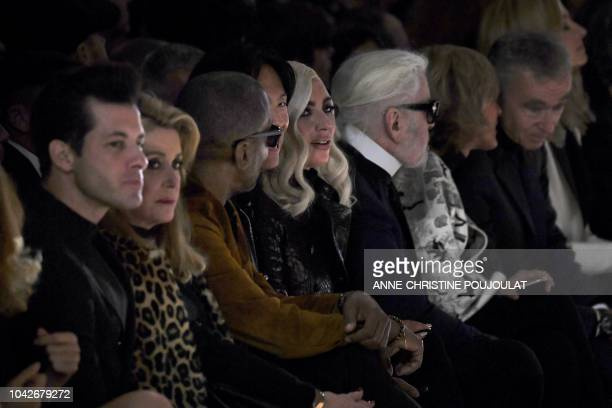 French actress Catherine Deneuve Stephen Gan US singer and actress Lady Gaga German fashion designer Karl Lagerfeld and French Luxury group Chairman...