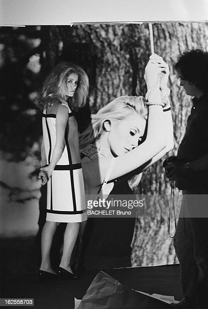French actress Catherine Deneuve wears fashions by Yves Saint Laurent at a photoshoot by German photographer Helmut Newton 16th November 1981 On the...