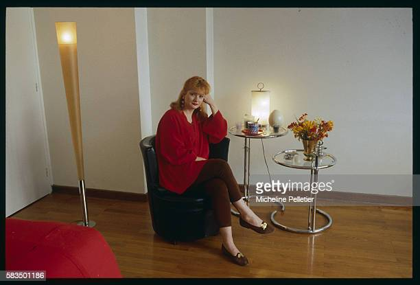 French actress Catherine Jacob sits at home following her part in the movie Tatie Danielle