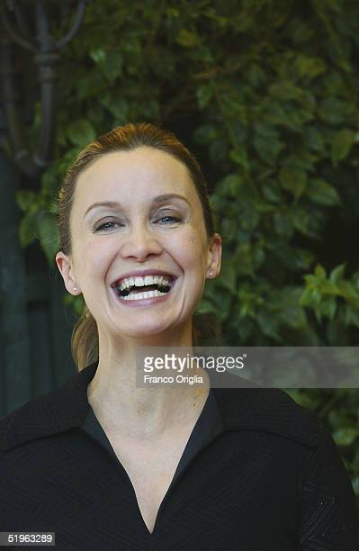 French actress Catherine Marchal attends a photocall to promote her new movie '36' directed by Olivier Marchal at the Hotel Eden Terrace on January...