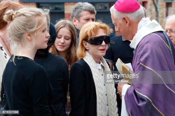 French actress Catherine Rich widow of late French actor Claude Rich arrives for the funeral ceremony at the Saint Pierre Saint Paul Church in...