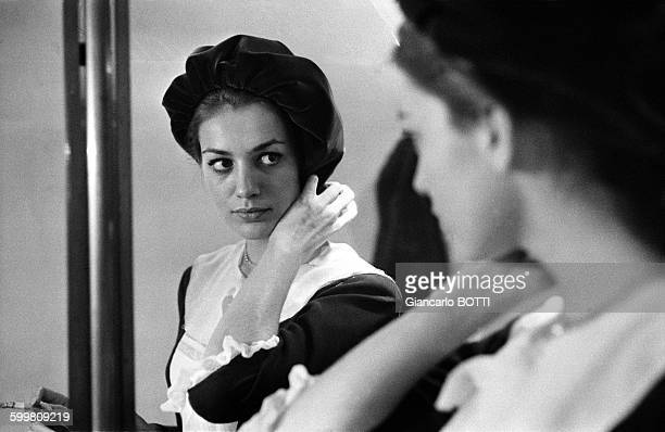 French Actress Catherine Spaak On The Set Of The Movie 'La Ronde' Directed By Roger Vadim in France, in 1964 .