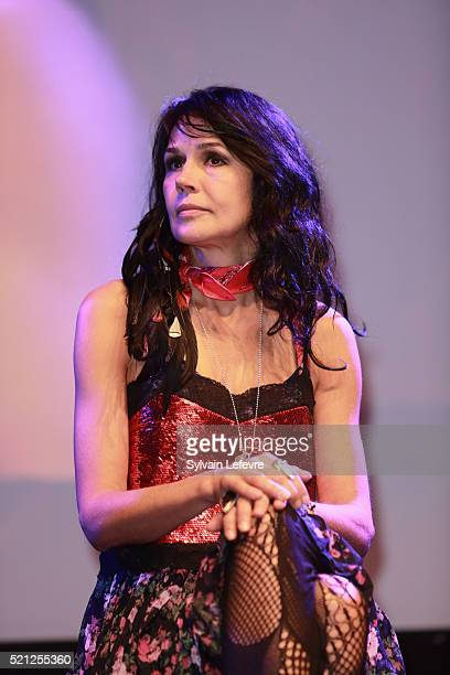 French actress Catherine Wilkening attends Opening Ceremony of 10th Liege Thriller Film Festival on April 14 2016 in Liege Belgium
