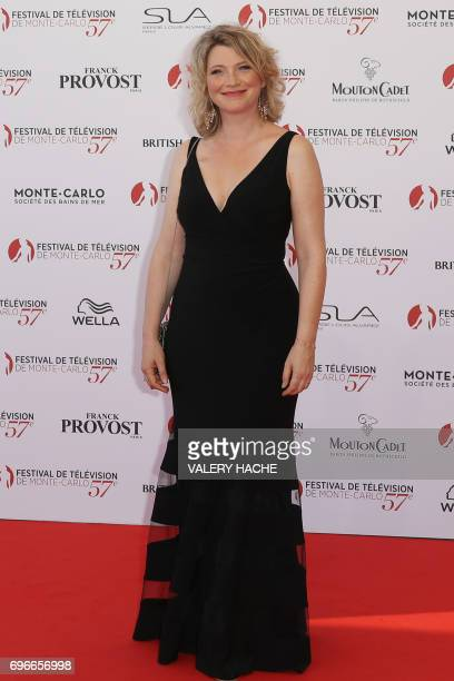 French actress Cecile Bois poses during the opening Ceremony of the 57th MonteCarlo Television Festival on June 16 2017 in Monaco The MonteCarlo...