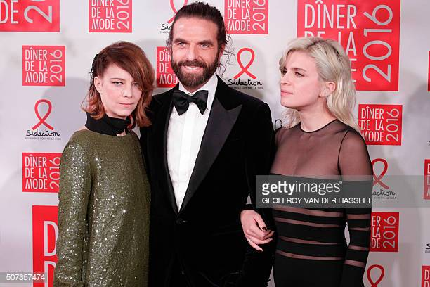 French actress Celine Salette French hair stylist John nollet and French actress and singer Cecile Cassel aka HolySiz pose upon her arrival at the...