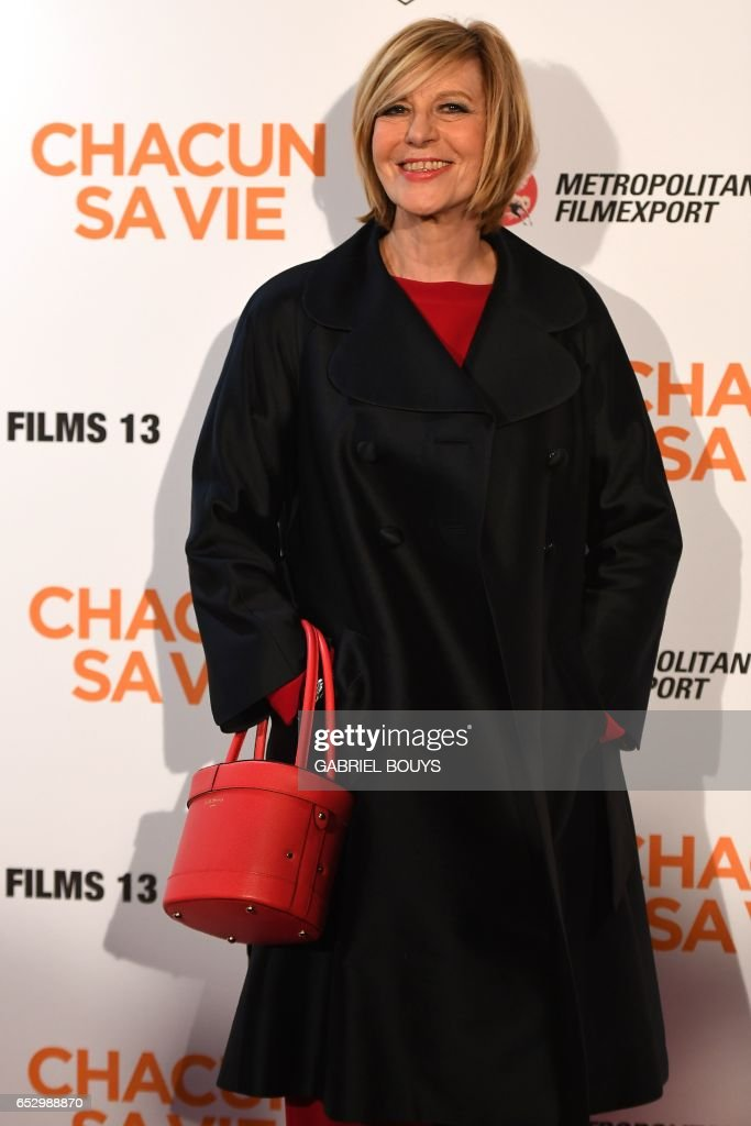 French actress Chantal Ladesou poses during the photocall for the premiere of the film 'Chacun Sa Vie' in Paris on March 13, 2017. The film is directed by French director Claude Lelouch. /